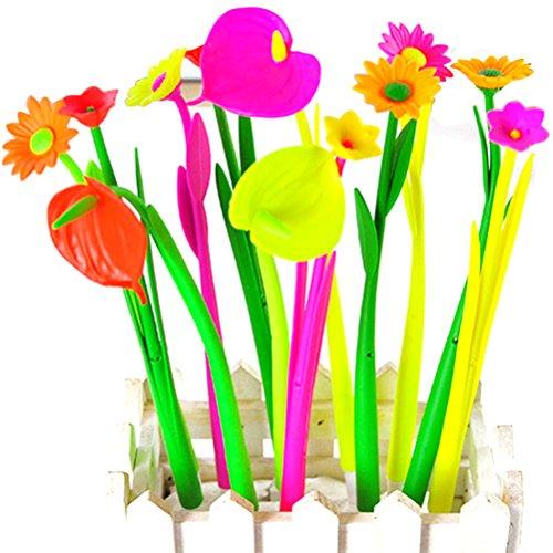 Wallpapers Halloween Cute Desktop (6PCS Bloom Flora Flowers Pen Design Ballpoint Pens Stationery Gifts Kawaii Ballpen School Office Material Supplies)