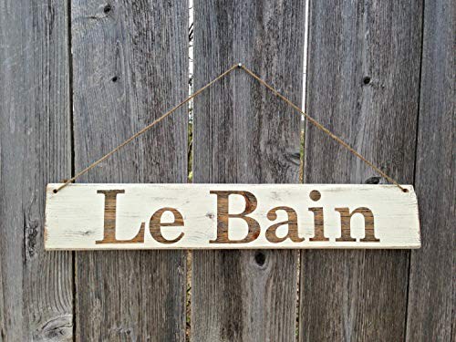 Olga212Patrick Bathroom Wood Plaque Sign Le Bain French Bath Wood Plaque Sign Rustic Distressed Cottage Chic Wall Decor ()
