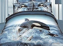 Joybuy 3d Underwater WorldBedding Sets Dolphin Bedding 3d Bed Set 3d Bedding Set Linen Cotton Queen Size/bedclothes Duvet Cover 4pcs