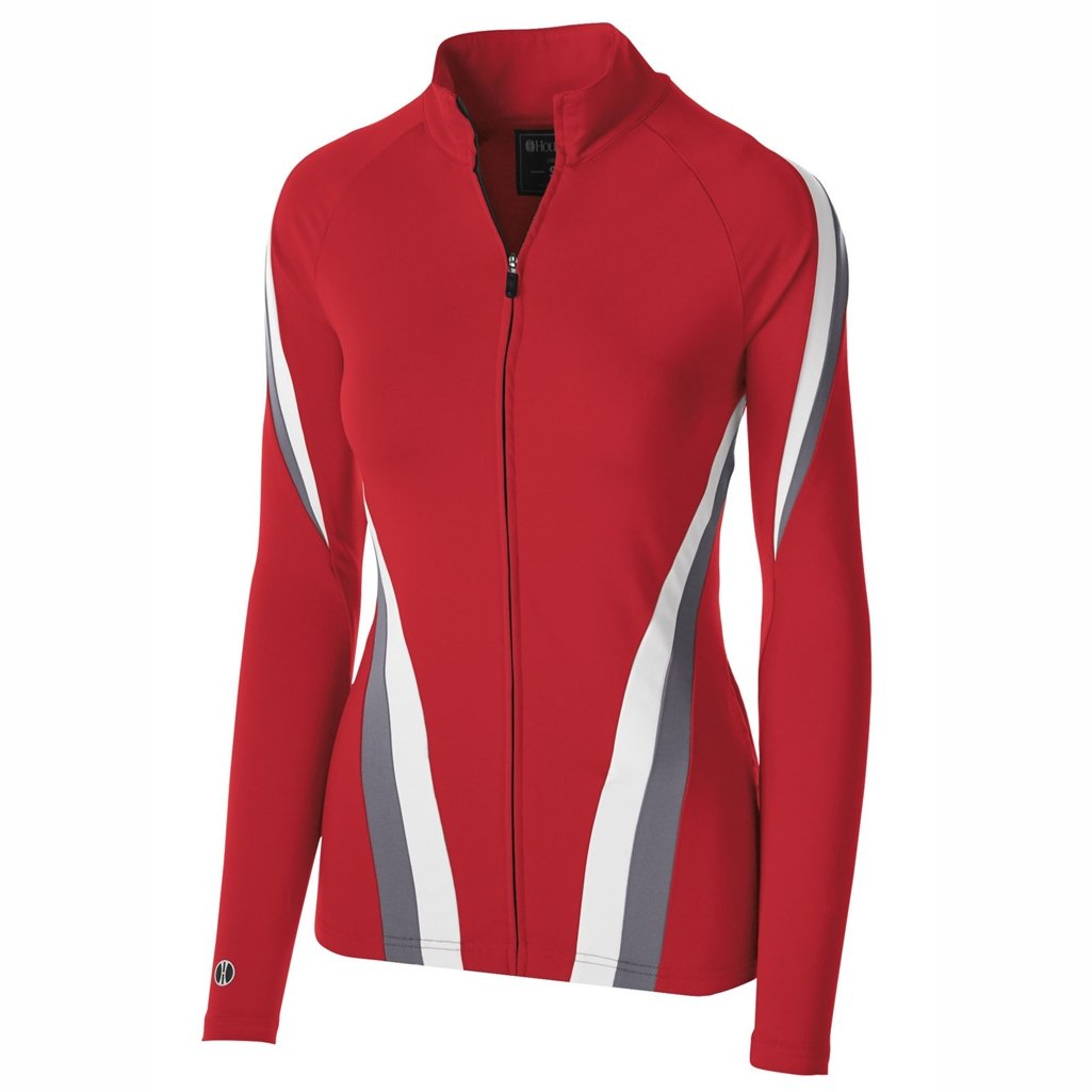 Holloway Dry Excel Girls Aerial Semi Fitted Jacket (X-Large, Scarlet/Graphite/White) by Holloway