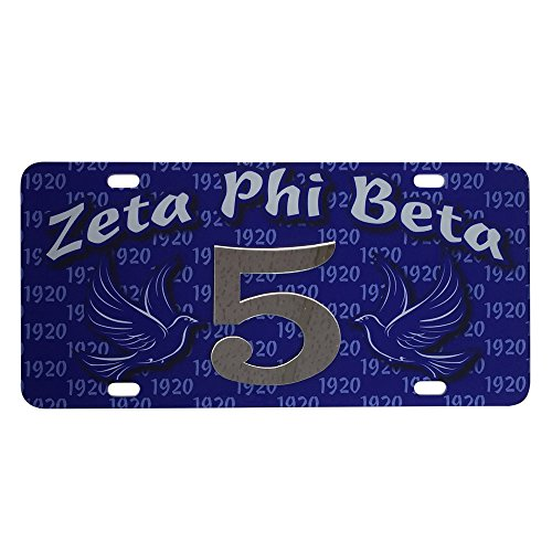 Zeta Phi Beta Sorority Line #5 Numbered Car Tag Line Number Acrylic Printed Decorative Tag For Front Back of - Miami Valdosta To