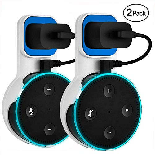 Yuanling Outlet Wall Mount Hanger Stand for Dot 2nd Generation, A Space-Saving Solution for Your Smart Home Speakers Without Messy Wires or Screws (White 2pcs)