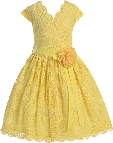 Flower Girl Dress Curly V-Neck Rose Embroidery AllOver for Little Girl Yellow 8 JKS.2066