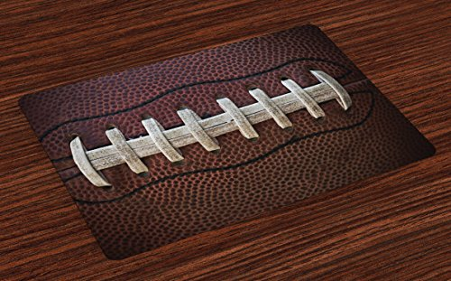 Lunarable Sports Place Mats Set of 4, American Football Leather Laces Fun Traditional Sport Close Up Photo Print, Washable Fabric Placemats for Dining Room Kitchen Table Decoration, Dark Brown Beige
