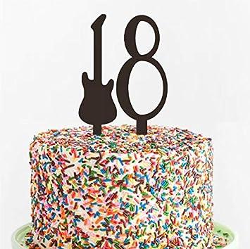 Guitar Birthday Cake Topper Custom Acrylic Laser Cut Variety Of ColorsTeenager