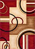 Well Woven Barclay Arcs & Shapes Red Modern Geometric Area Rug 7'10'' X 9'10''