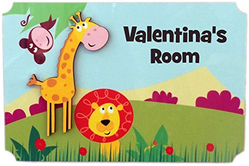 (Rikki Knight Valentina's Room - 3D Giraffe on Jungle - Door Sign Plaque with Name for Children and Baby's Bedroom)