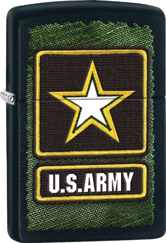 Zippo Pocket Lighter Army Windproof Lighter, Black Matte (Army Zippo Stamp)