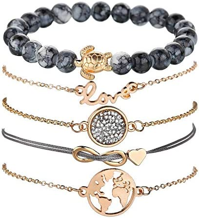 krun Boho Beaded Bracelets for Women Girls Adjustable Charm Stretch Stack Strand Bangle Bracelets Set