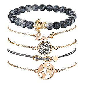 Unew Beaded Bracelets for Women - Adjustable Charm Pendent Stack Bracelets for Women Girl Friendship Gift Rose Quartz Bracelet Links with Pearl Golds Plated 5pcs/Set (Turtle & Map)