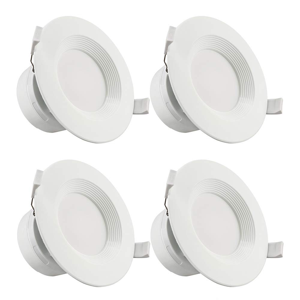 """TORCHSTAR 4 PACK 4""""LED Recessed Downlight with Junction Box, 7W (60W Equivalent) Dimmable LED Ceiling Light Fixture, IC-Rated & Air Tight, Wet Location, 5000K Daylight, UL-listed, 5 Years Warranty"""