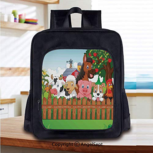 School Backpack,Cute Farm Animals on the Fence Comic Mascots with Dog Cow Horse for Kids Decor Decorative School Bags Student Stylish Book Bag Daypack for Little Boys and Girls,Multi ()