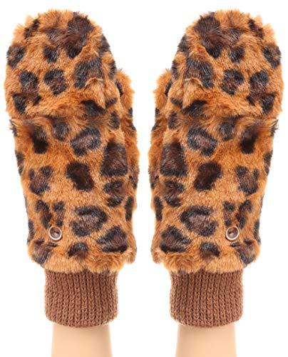 MIRMARU Women's Winter Fully Lined Faux Fur Flip Cover Mitten Gloves. (Leopard/Brown)