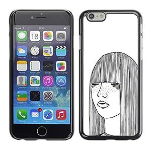 PC/Aluminum Funda Carcasa protectora para Apple Iphone 6 Plus 5.5 girl sketch white freckles woman art / JUSTGO PHONE PROTECTOR