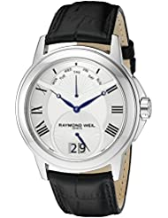 Raymond Weil Mens 9577-STC-00650 Tradition Stainless Steel Case Black Leather Strap with Crocodile Pattern Watch