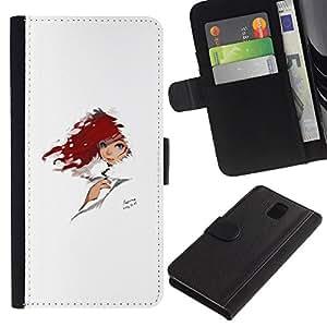 Protector de cuero de la PU de la cubierta del estilo de la carpeta del tirón BY RAYDREAMMM - Samsung Galaxy Note 3 III - Pelirrojo