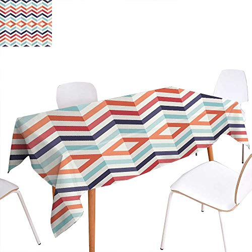 Red Magnet Rectangle (familytaste Geometric Printed Tablecloth Zig Zag Lines Chevron Stripes Going Up and Down with Optic Effect Image Rectangle Tablecloth 50