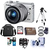 Canon EOS M100 Mirrorless Camera EF-M 15-45mm f/3.5-6.3 IS STM Lens, White - Bundle 32GB SDHC Card, Camera Case, 49mm Filter kit, Spare Battery. Tripod, Software Package More