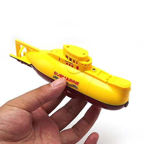 Tipmant Mini RC Submarine Toy Remote Control Boat Ship Electronic Waterproof Diving in Water Swimming Pool Kids Gift (Yellow) (Miniature Submarine Toy)