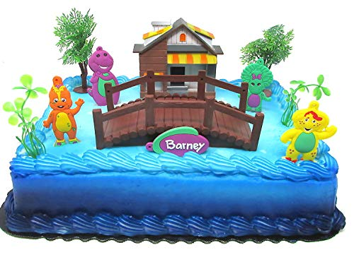 (Barney Birthday Cake Topper Set Featuring Barney and Friends with Decorative Themed Accessories)