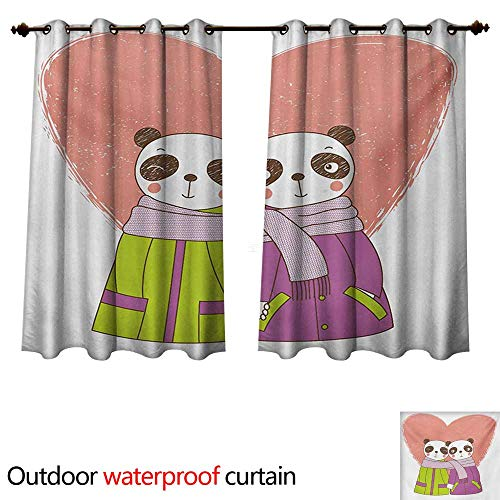 (WilliamsDecor Panda 0utdoor Curtains for Patio Waterproof Two Cartoon Lovers Holding Hands Valentines Day Themed Hand Drawn Heart Background W84 x L72(214cm x)