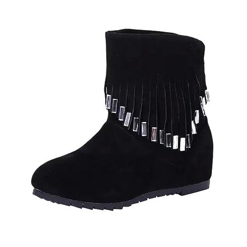 Mocasines con Flecos Botas de Mujer Botas de Tobillo Bajas y Planas con borlas Zapatos Casuales Botas Martin: Amazon.es: Zapatos y complementos