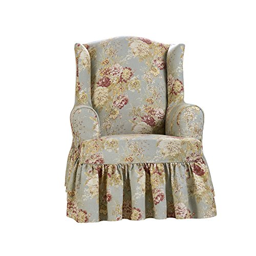 Sure Fit Ballad Bouquet by Waverly Slipcover (Robin's Egg, Wing Chair) by Surefit