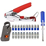 Coax Crimper Tool Kit Coaxial Compression Stripping Tool Cable Wire Stripper with 10 PCS F Male And 10 PCS Female to Female RG6 RG59 Connectors LTT-7 CATV Cable Locking Terminator TV Tool