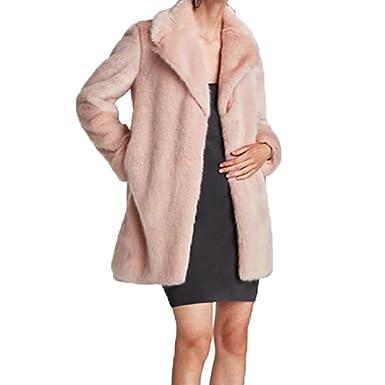 1b283038b8702 Femme/Fille Manteau d'Hiver chaud rose et épais en fausse fourrure chic et