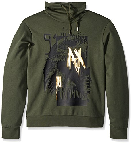 A|X Armani Exchange Men's Graphic Logo Hoodie, Climbing IVY, - Men Exchange Sweater Armani