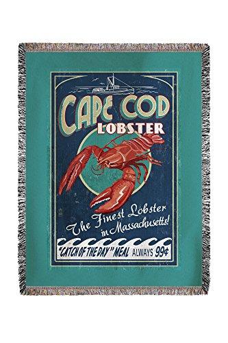 (Cape Cod, Massachusetts - Lobster Vintage Sign 35467 (60x80 Woven Chenille Yarn)