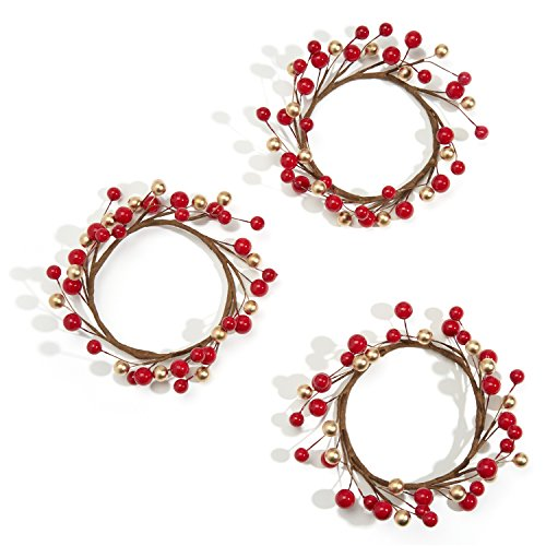LampLust Holiday Candle Rings, Red and Gold Berry - Set of 3 Pip Berry Mini Wreaths, Fits 3 Inch Pillar Candles, for Weddings, Parties and Home Decor