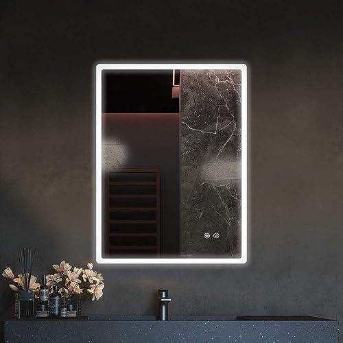 Qiyang 24'' x 32'' LED Illuminated Bathroom Mirror Made of Copper-Free Mirror Aluminum LED Makeup Mirror