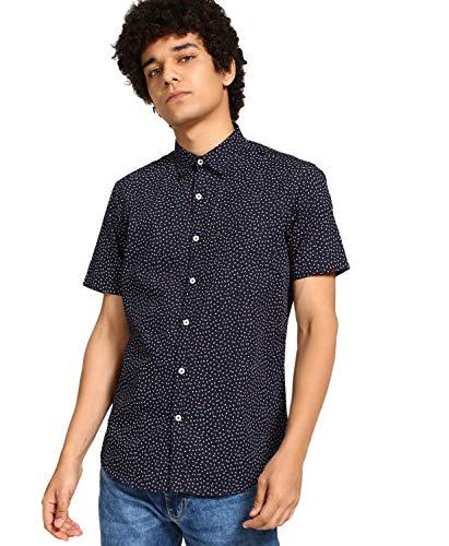 DJ & C by FBB Printed Slim Fit Shirt Navy