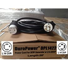 Generator Power Cord - L14-20 Extension Cord DPL1422 - 20 Foot, 20 Amps, 125/250V