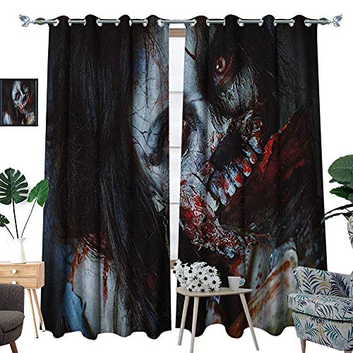 Warm Family Zombie Window Curtain Drape Scary Dead Woman with a Bloody Axe Evil Fantasy Gothic Mystery Halloween Picture Decorative Curtains for Living Room W84 x L96 Multicolor