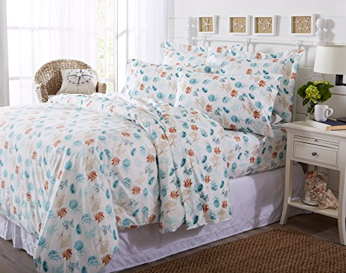 Great Bay Home Duvet Cover 3-Piece Set with Button Closure. Luxuriously Soft 100% Brushed Microfiber with Printed Coastal Pattern and Corner Ties. Antigua Collection By Brand. (Full/Queen, Key West) Childrens Bay