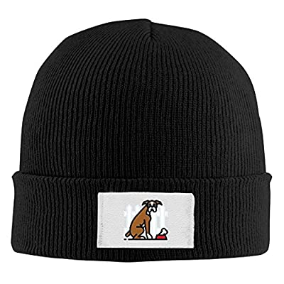 YSDISJE Dog Boxer Pet Bone Mens Womens Cuff toboggan Knit Beanies Wood Trucker Caps Amazing Unisex Winter Hats Classic For Outdoor,Dance,Hip Hop