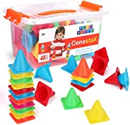 Play Build ConestaX Stacking Game - 48 Pcs Cones Balancing Stacking Toy - Fun STEM / STEAM Activity Games for