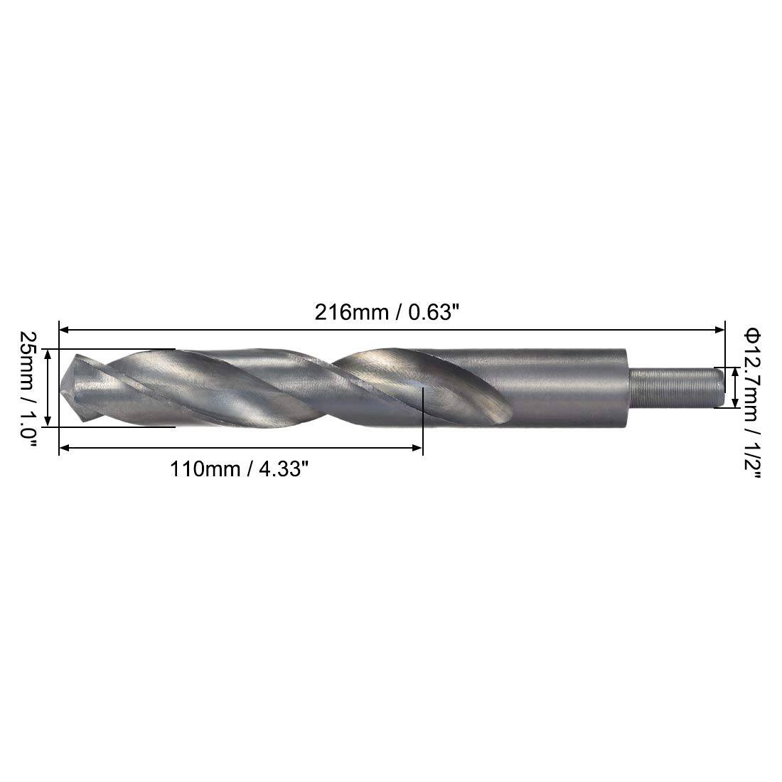 sourcing map Reduced Shank Twist Drill Bits 20mm High Speed Steel 4241 with 10mm Shank 1 Pcs