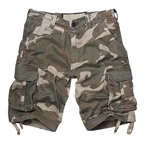 Men's Cotton Twill Camouflage Summer Cargo Shorts Camo Lable Size 34 (US Size 33)