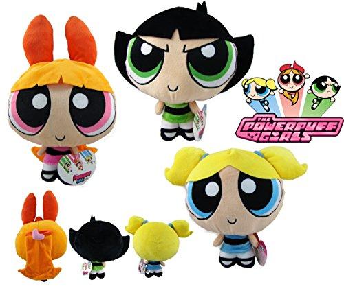 """PP The Powerpuff Girls - Set 3 Plush Toy Quality Super Soft - Bubbles 9""""/ 25 cm + Buttercup 9""""/25 cm + Blossom 12""""/32 cm"""