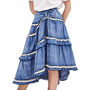 Artka Women's High Waist Pleated Layered Petite Midi Denim Skirt with Asymmetric Hem