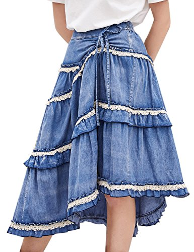 (Artka Women's High Waist Pleated Layered Petite Midi Denim Skirt with Asymmetric Hem Blue)