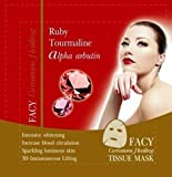 Ruby Tourmaline Facial Tissue Mask, with alpha-arbutin, Facial treatment for women & men of all skin types, (Pack of 3)