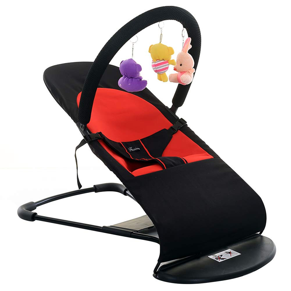 Fivtyily Collapsible Baby Rocking Chairs Lounger Natural Shakers Cradle Bed for 3-34 Months Baby (Black)