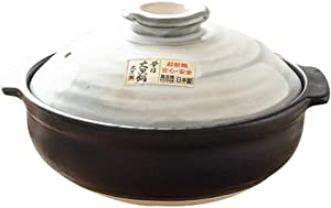 Traditional Handmade Double Ceramic Casserole Not-Stick Stockpot Dolsot,Japanese Donabe Stone Rice Pot with Lid Black 2.1quart