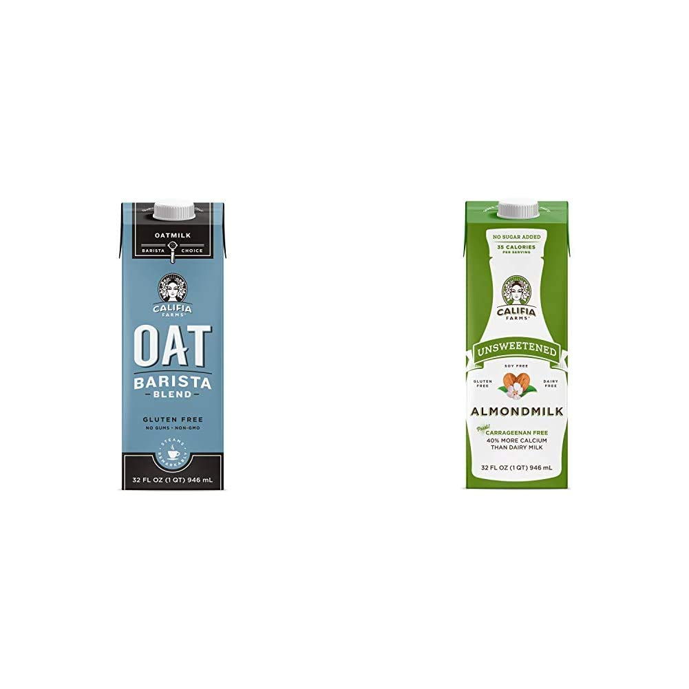 Califia Farms - Oat Milk, Unsweetened Barista Blend, 32 Oz (Pack of 6)   Shelf Stable   Non Dairy Milk   Creamer   Vegan   Plant Based & Shelf Stable Almond Milk, Unsweetened, 32 Oz (Pack of 6)