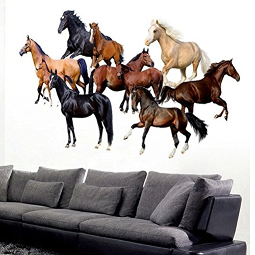 U-Shark 3D Running Horse Self-adhesive Removable Break Through the Wall Vinyl Wall Stickers / Murals Art Decals Decorator (10 Mini Horses (50 x 70 cm))
