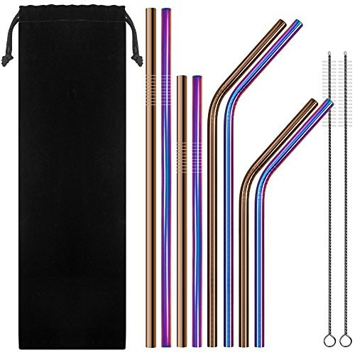 Set of 8 Stainless Steel Drinking Straws, SENHAI 6 mm Metal Bent and...